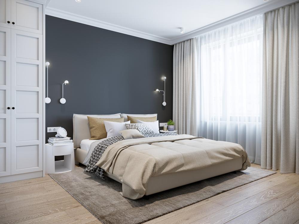 La décoration moderne dans la chambre à coucher